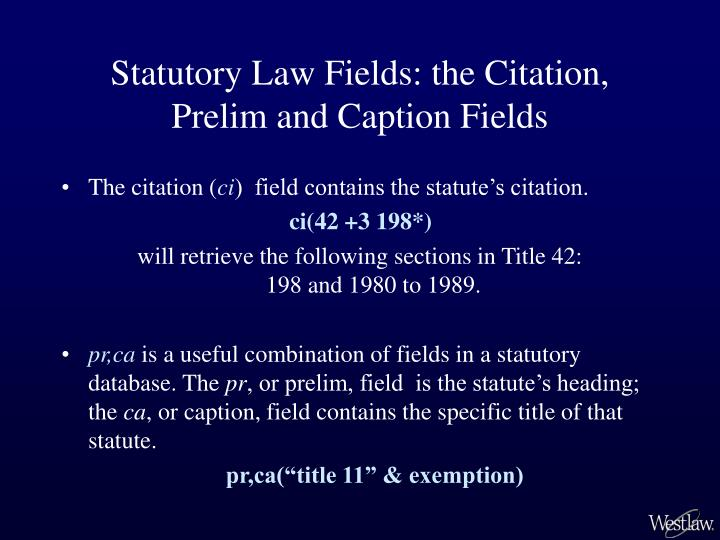 Statutory Law Fields: the Citation, Prelim and Caption Fields