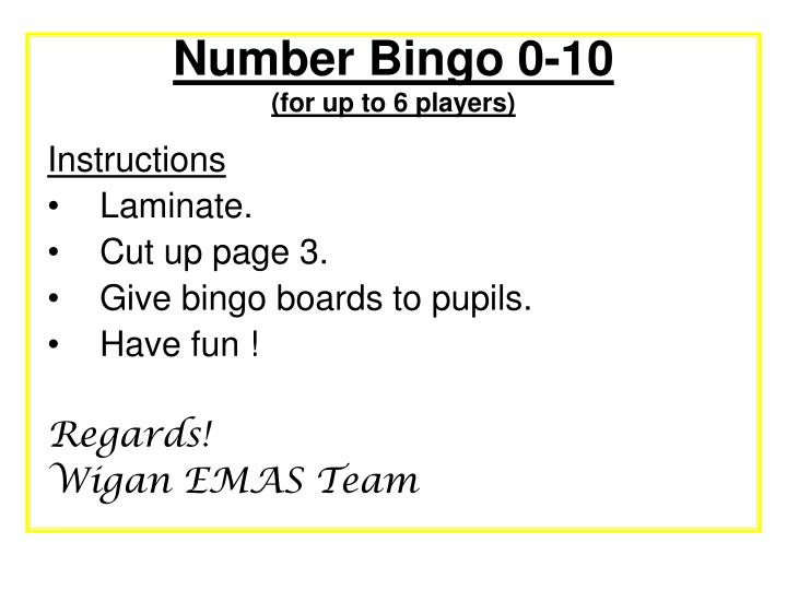 number bingo 0 10 for up to 6 players n.