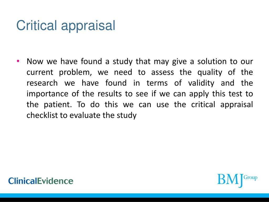 PPT - Appraising a diagnostic test study using a critical appraisal