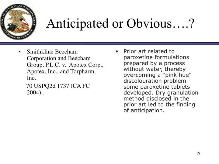 Smithkline Beecham Corporation and Beecham Group, P.L.C. v.  Apotex Corp., Apotex, Inc., and Torpharm, Inc.