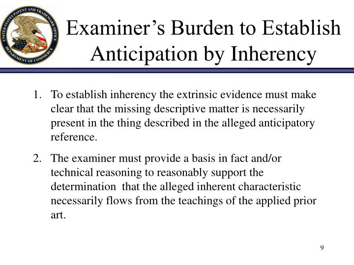 Examiner's Burden to Establish Anticipation by Inherency
