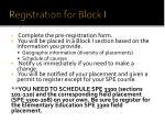 registration for block i