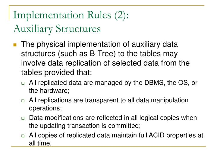 Implementation Rules (2):
