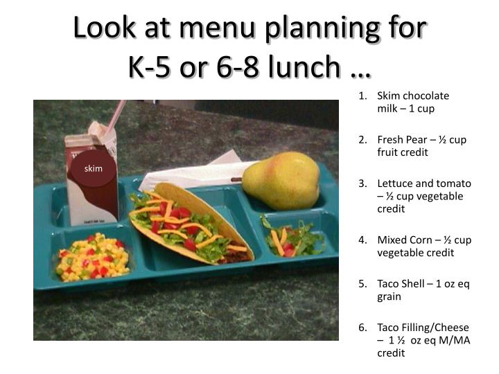 Look at menu planning for