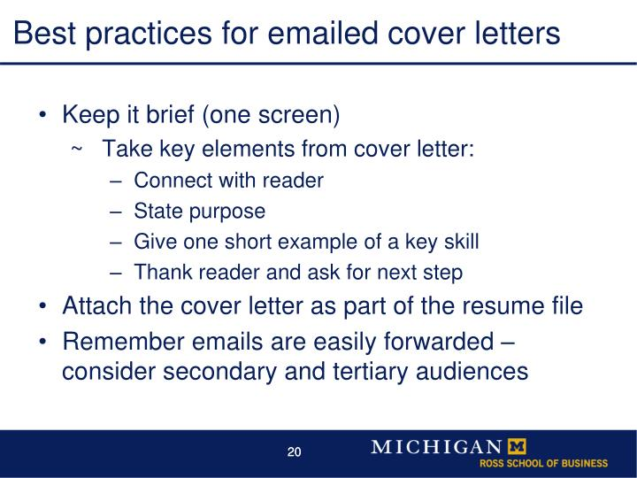 Best practices for emailed cover letters