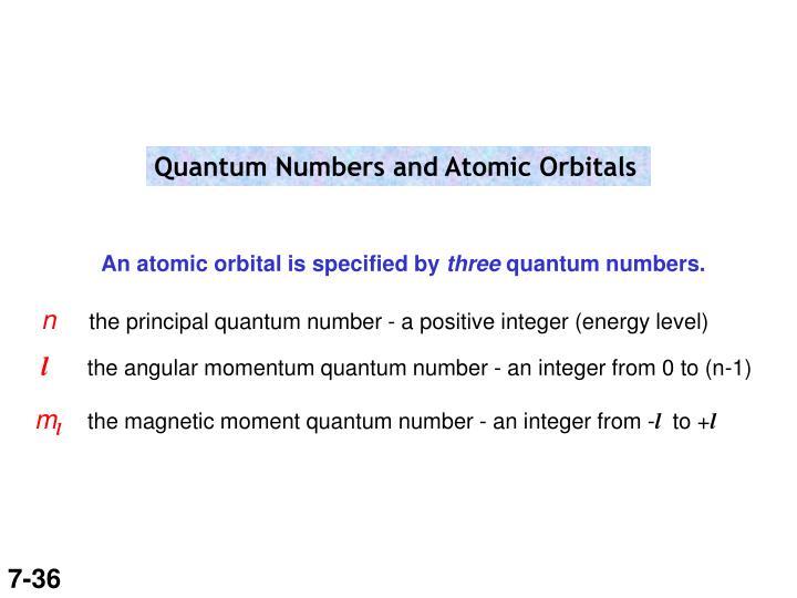 Quantum Numbers and Atomic Orbitals