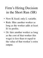 firm s hiring decision in the short run sr