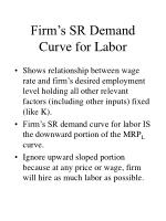 firm s sr demand curve for labor