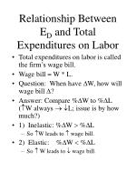 relationship between e d and total expenditures on labor
