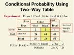 conditional probability using two way table