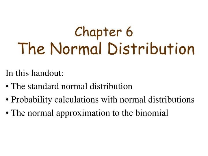 chapter 6 the normal distribution n.
