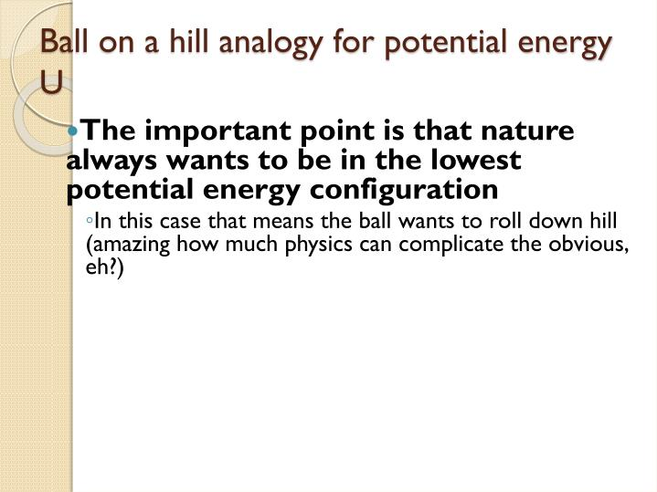 The important point is that nature always wants to be in the lowest potential energy configuration