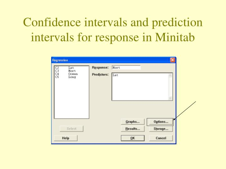 Confidence intervals and prediction intervals for response in Minitab