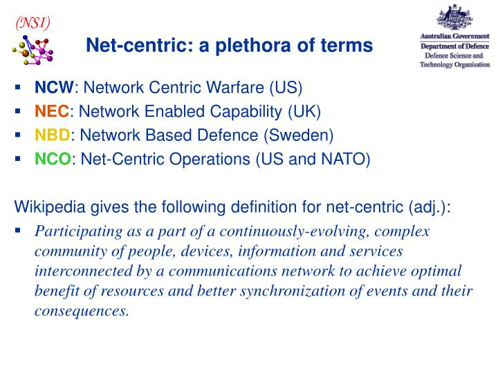Net centric a plethora of terms