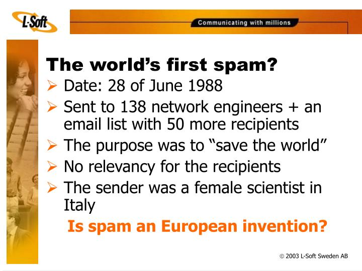 The world's first spam?