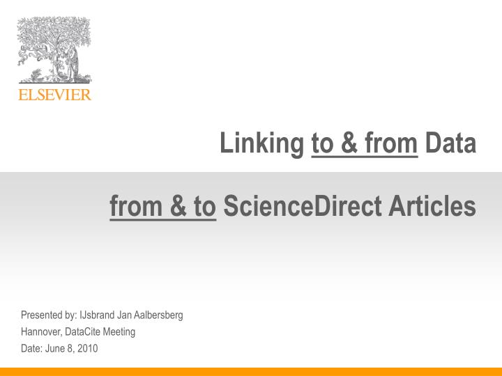 Linking to from data from to sciencedirect articles