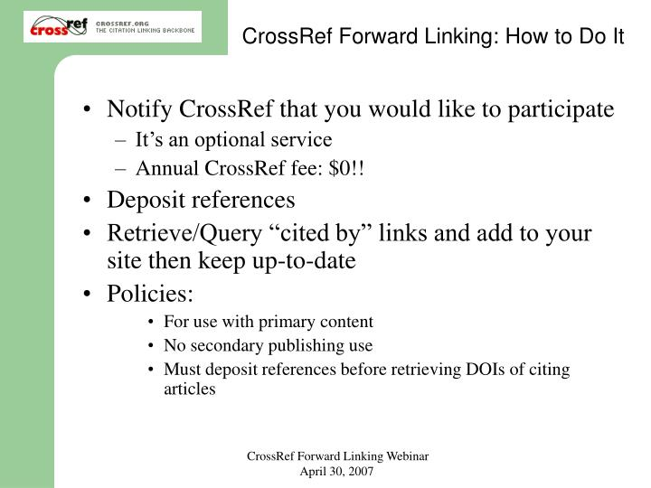 CrossRef Forward Linking: How to Do It