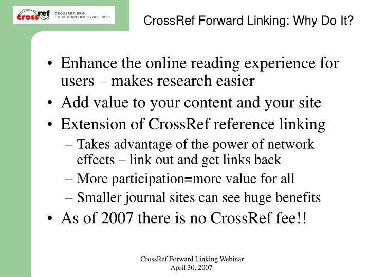 CrossRef Forward Linking: Why Do It?