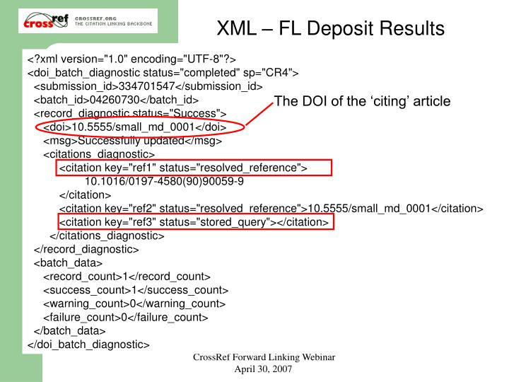 XML – FL Deposit Results