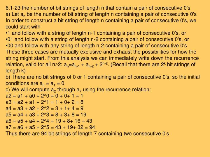 6.1-23 the number of bit strings of length n that contain a pair of consecutive 0's