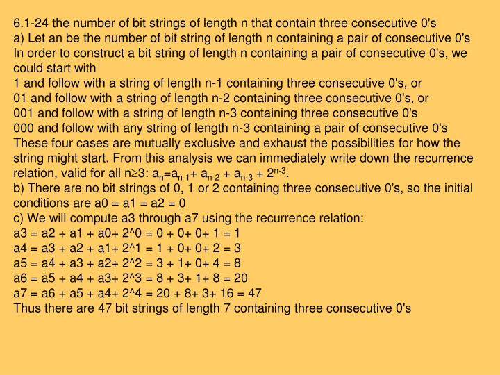 6.1-24 the number of bit strings of length n that contain three consecutive 0's