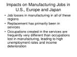 impacts on manufacturing jobs in u s europe and japan