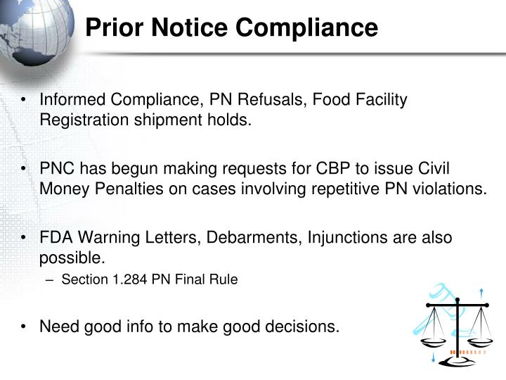 Prior Notice Compliance