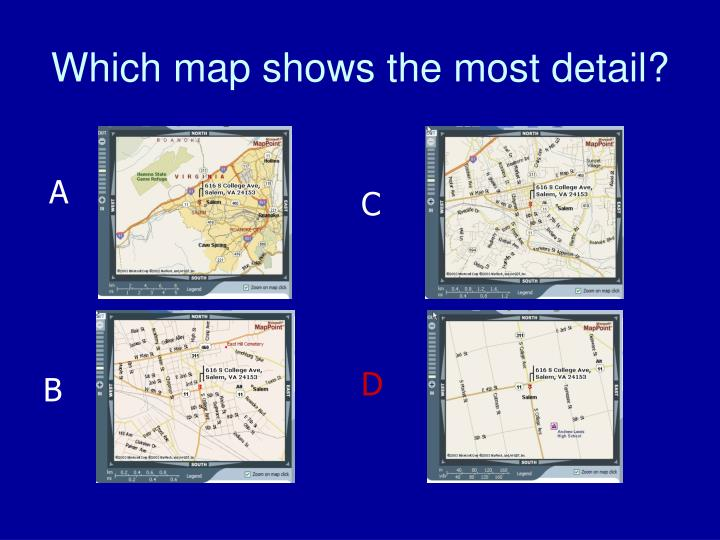 Which map shows the most detail?