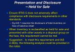 presentation and disclosure held for sale1