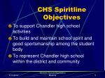 chs spiritline objectives
