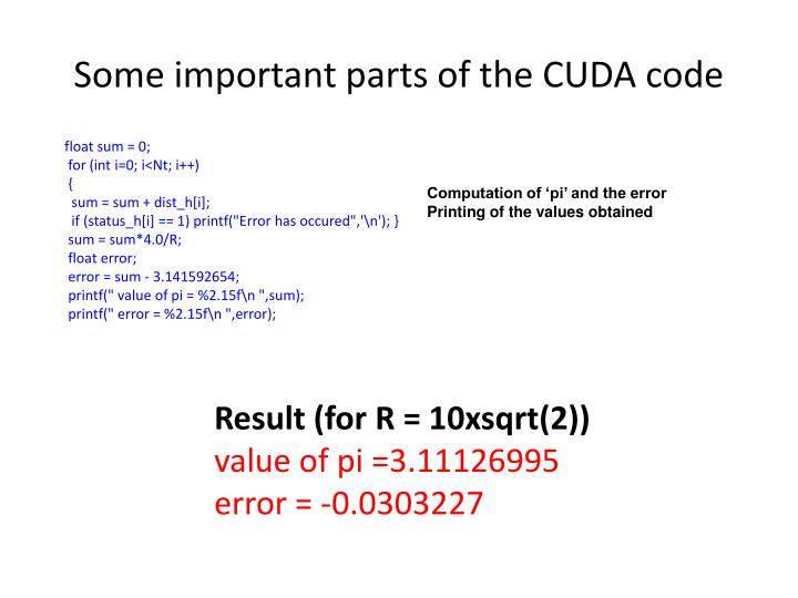 Some important parts of the CUDA code