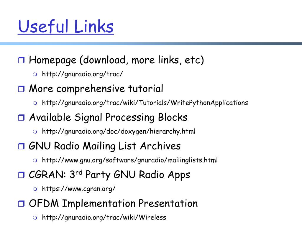 PPT - GNU Radio PowerPoint Presentation - ID:3196099