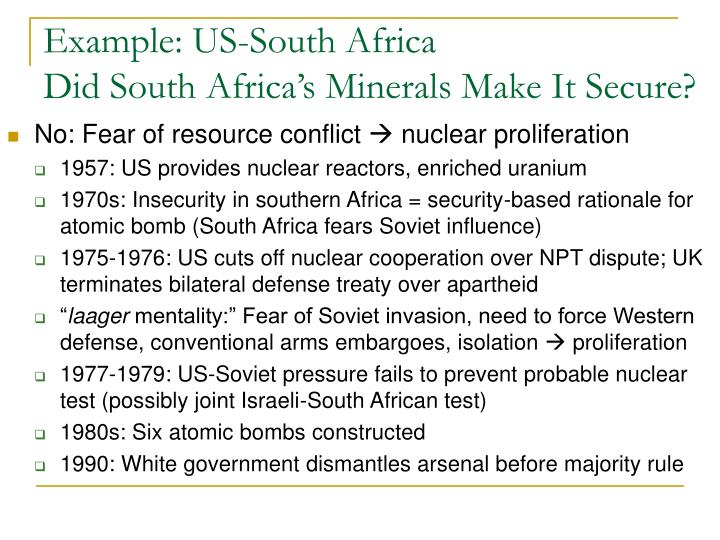Example: US-South Africa