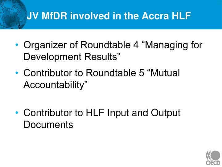 JV MfDR involved in the Accra HLF