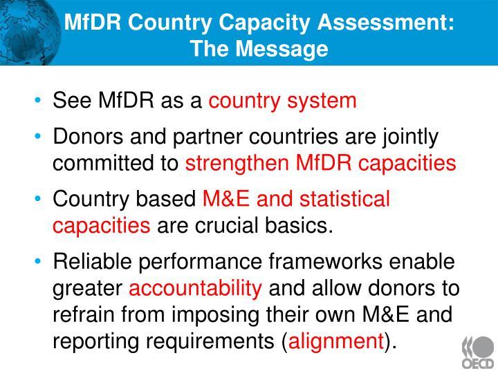 MfDR Country Capacity Assessment: