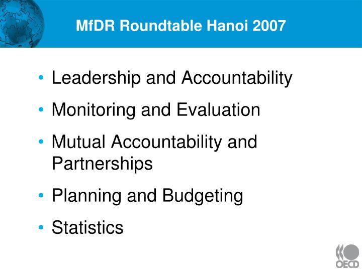 MfDR Roundtable Hanoi 2007