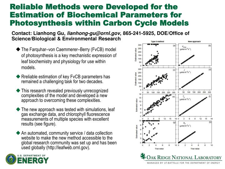 Reliable Methods were Developed for the Estimation of Biochemical Parameters for Photosynthesis with...
