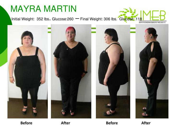 Mayra martin initial weight 352 lbs glucose 260 final weight 306 lbs glucose 118