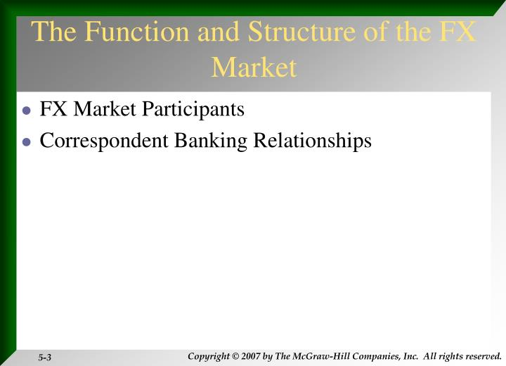The Function and Structure of the FX Market
