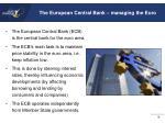the european central bank managing the euro