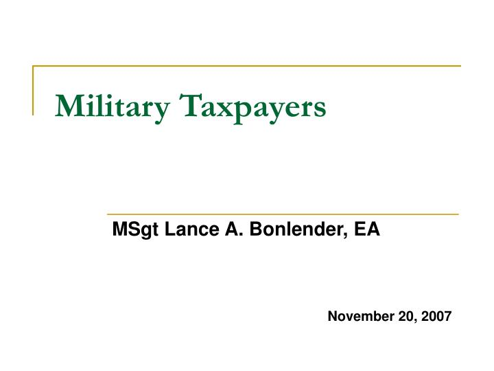 military taxpayers n.