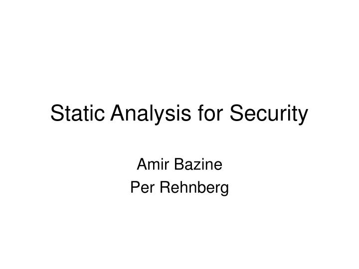 static analysis for security n.