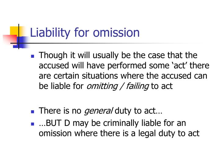 Liability for omission