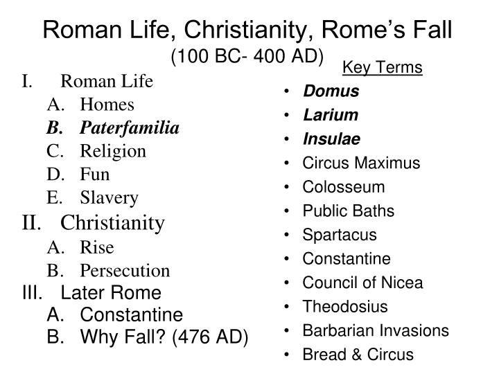 roman life christianity rome s fall 100 bc 400 ad n.