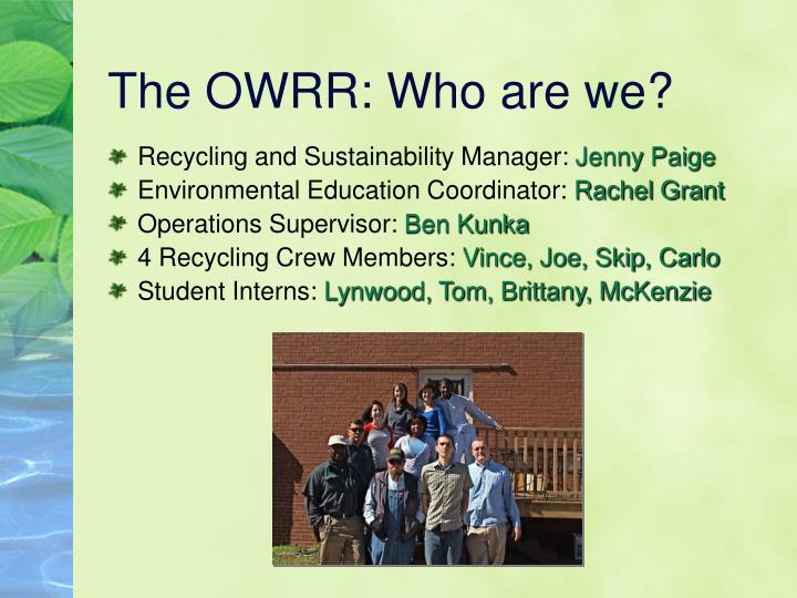 The owrr who are we