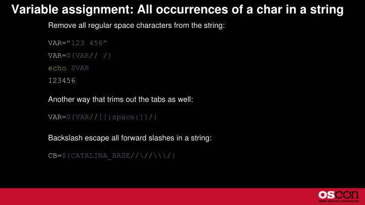 Variable assignment: All occurrences of a char in a string