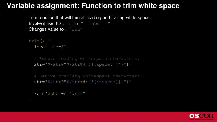 Variable assignment: Function to trim white space