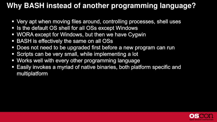 Why bash instead of another programming language