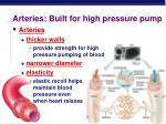 arteries built for high pressure pump
