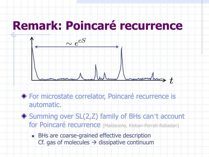 Remark: Poincaré recurrence
